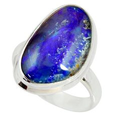 13.09cts natural australian opal triplet silver solitaire ring size 7.5 r34288