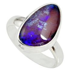 6.33cts natural australian opal triplet silver solitaire ring size 7.5 r34290