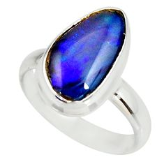 6.54cts natural australian opal triplet silver solitaire ring size 8.5 r34296
