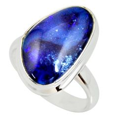 12.03cts natural australian opal triplet silver solitaire ring size 7.5 r34297
