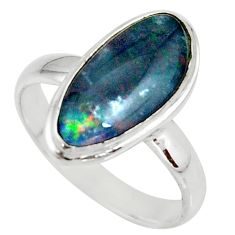 5.11cts natural australian opal triplet silver solitaire ring size 8.5 r39291
