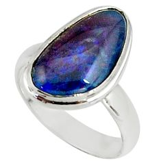 4.43cts natural australian opal triplet silver solitaire ring size 5.5 r39305