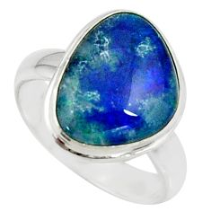 4.67cts natural australian opal triplet silver solitaire ring size 5.5 r39307