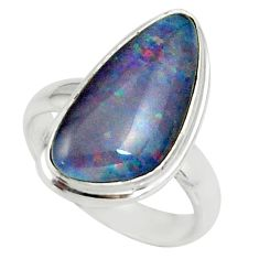 5.11cts natural australian opal triplet silver solitaire ring size 5.5 r39311