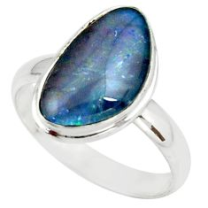 5.11cts natural australian opal triplet silver solitaire ring size 9.5 r39312
