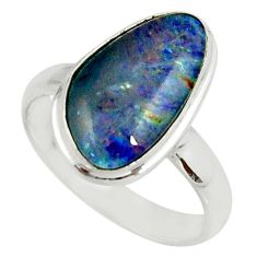 4.67cts natural australian opal triplet silver solitaire ring size 7.5 r39315
