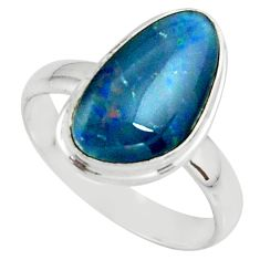 4.67cts natural australian opal triplet silver solitaire ring size 8.5 r39319