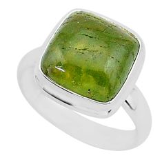 6.62cts natural aventurine (brazil) 925 silver solitaire ring size 7 r95788