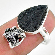 9.29cts natural black campo del cielo (meteorite) 925 silver ring size 7 t14239
