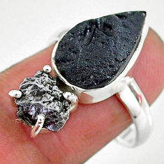 9.99cts natural black campo del cielo (meteorite) 925 silver ring size 8 t14240