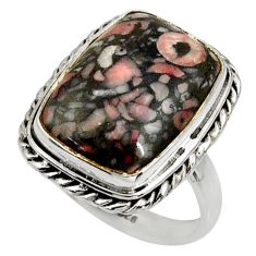 12.64cts natural black crinoid fossil 925 silver solitaire ring size 8.5 r28221