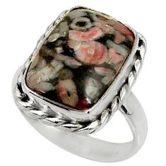 7.38cts natural black crinoid fossil 925 silver solitaire ring size 7.5 r28223