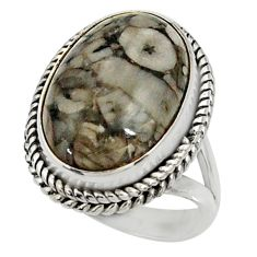 13.84cts natural black crinoid fossil 925 silver solitaire ring size 7.5 r28229