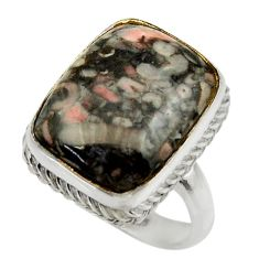 14.39cts natural black crinoid fossil 925 silver solitaire ring size 8.5 r28808