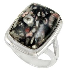 11.62cts natural black crinoid fossil 925 silver solitaire ring size 6 r28226