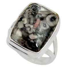 13.77cts natural black crinoid fossil 925 silver solitaire ring size 7 r28222