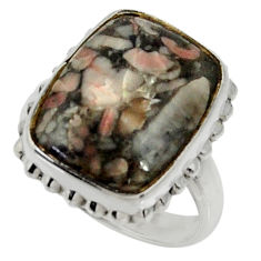 12.34cts natural black crinoid fossil 925 silver solitaire ring size 7 r28228