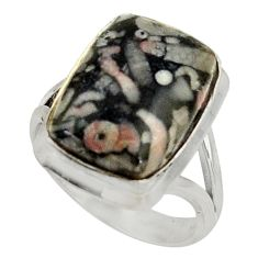 10.33cts natural black crinoid fossil 925 silver solitaire ring size 7 r28232