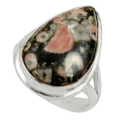 15.85cts natural black crinoid fossil 925 silver solitaire ring size 8 r28234