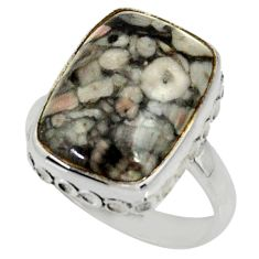 10.81cts natural black crinoid fossil 925 silver solitaire ring size 8 r28237