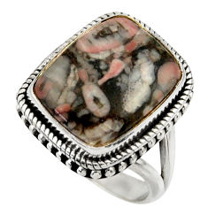 16.17cts natural black crinoid fossil 925 silver solitaire ring size 8 r28803