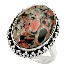 13.79cts natural black crinoid fossil 925 silver solitaire ring size 8 r28807