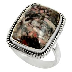 13.77cts natural black crinoid fossil 925 silver solitaire ring size 9 r28227