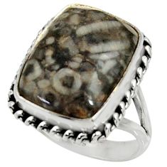 12.65cts natural black crinoid fossil 925 silver solitaire ring size 9 r28233