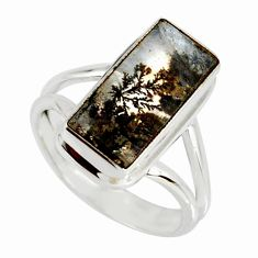 5.52cts natural black dendritic quartz 925 silver faceted ring size 7 r19351