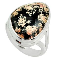 14.17cts natural black firework obsidian 925 silver solitaire ring size 7 r28717