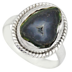 6.84cts natural black geode druzy 925 silver solitaire ring size 7.5 d46492