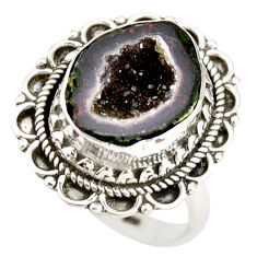 8.24cts natural black geode druzy 925 silver solitaire ring size 8.5 r21390