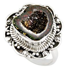 6.62cts natural black geode druzy 925 silver solitaire ring size 7.5 r21391
