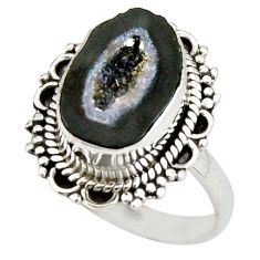 6.82cts natural black geode druzy 925 silver solitaire ring size 8.5 r21398