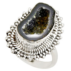 7.35cts natural black geode druzy 925 silver solitaire ring size 6.5 r21413
