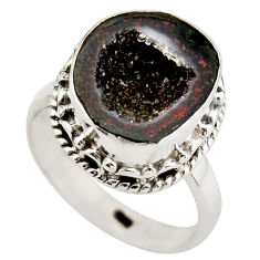 6.53cts natural black geode druzy 925 silver solitaire ring size 7 r21408