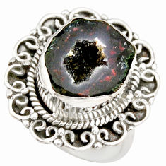 8.42cts natural black geode druzy 925 silver solitaire ring size 7 r21414