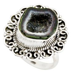 8.41cts natural black geode druzy 925 silver solitaire ring size 8 r21420
