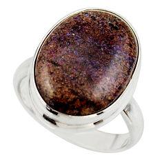 12.14cts natural black honduran matrix opal 925 silver ring size 7 r42967