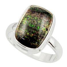 6.32cts natural black honduran matrix opal 925 silver ring size 8 r42966