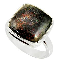 9.18cts natural black honduran matrix opal silver solitaire ring size 7.5 r34344