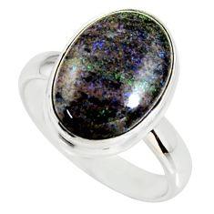 6.55cts natural black honduran matrix opal silver solitaire ring size 7.5 r34378