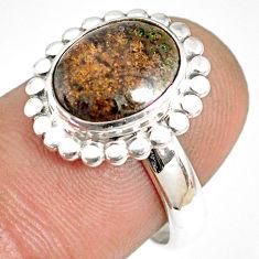 5.06cts natural black honduran matrix opal silver solitaire ring size 7.5 r76050