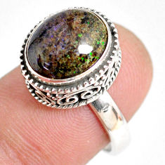 5.18cts natural black honduran matrix opal silver solitaire ring size 7 r76220