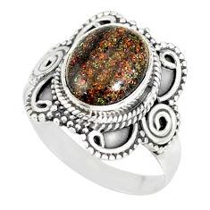 4.30cts natural black honduran matrix opal silver solitaire ring size 7 r77707