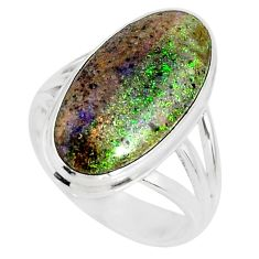 8.75cts natural black honduran matrix opal silver solitaire ring size 7 r80335