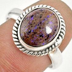 5.23cts natural black honduran matrix opal silver solitaire ring size 8 r76022