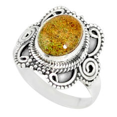 4.30cts natural black honduran matrix opal silver solitaire ring size 8 r77717