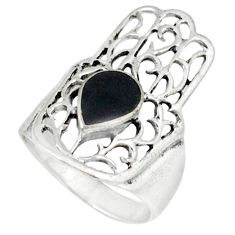 4.69gms natural black onyx 925 silver hand of god hamsa ring size 6.5 c12291