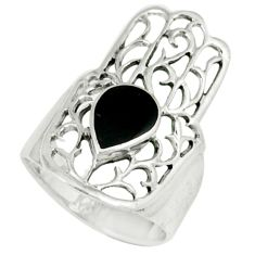 4.02gms natural black onyx 925 silver hand of god hamsa ring size 6 c12297